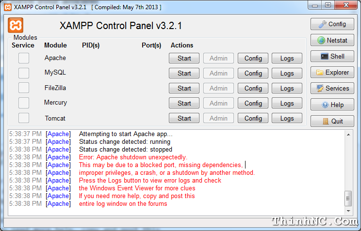 xampp-fail-start
